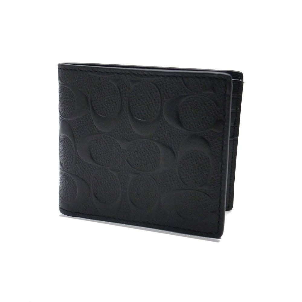 コーチ 財布 アウトレット メンズ 二つ折り財布 F75371 BLK COACH パスケース 定期入れ ウォレット シグネチャー ブラック【あす楽】 エクセルワールド ブランド プレゼントにも