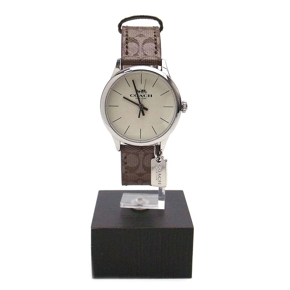 コーチ 時計 レディース W1549 KHA 14502657 COACH シグネチャー バンド 腕時計 アナログ時計 シルバー×カーキ【あす楽】