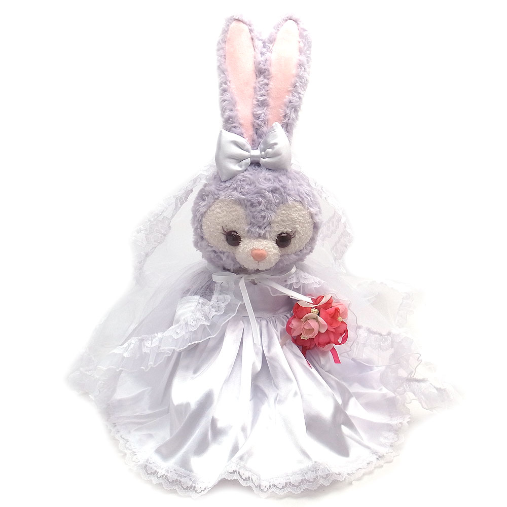 ステラルー ピンクのお花のブーケと白いリボンのウェディングドレス ぬいぐるみ コスチューム Sサイズ用 Wedding-SL-PKFL-WHR【あす楽】 エクセルワールド プレゼントにも かわいい
