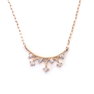 K10 PG ネックレス ダイヤモンド 0.07ct 270500277018 エクセルワールド プレゼントにも おしゃれ アクセサリー