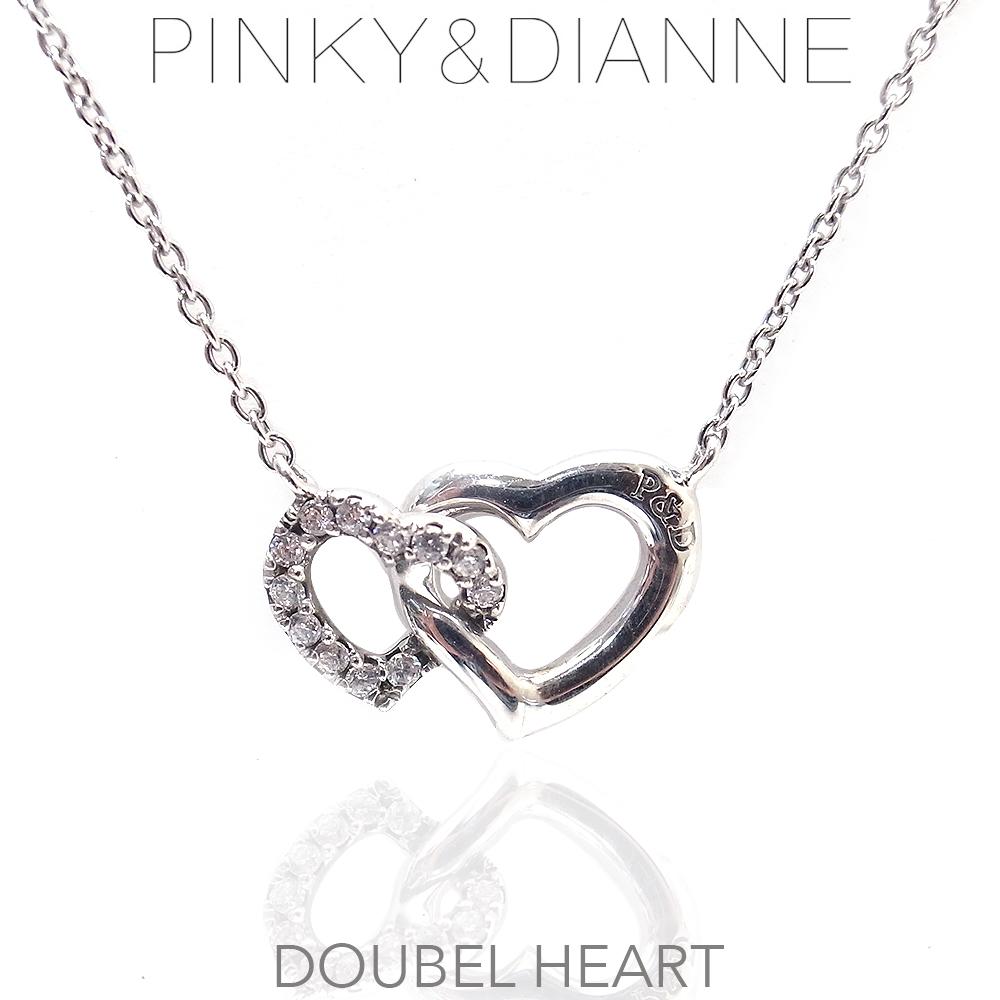 ピンキー&ダイアン ネックレス シルバー Pinky&Dianne 51503 Double Heart ダブルハート エクセルワールド ブランド プレゼントにも おしゃれ アクセサリー TP1