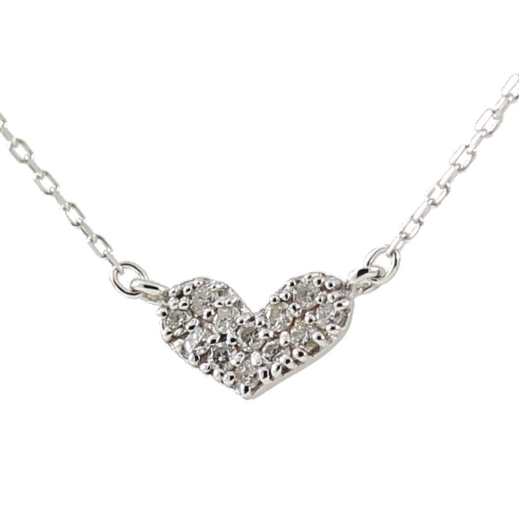 K10 10金 WG ホワイトゴールド ダイヤモンド ハート ネックレス 人気 ギフト ご褒美 PDCTー014 エクセルワールド プレゼントにも おしゃれ アクセサリー