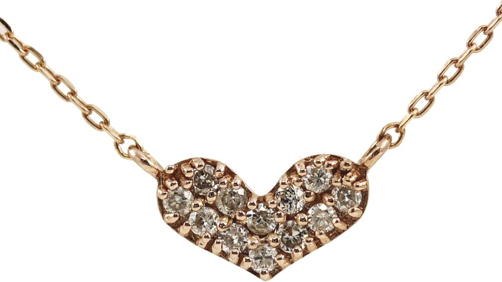 K10 10金 PG ピンクゴールド ダイヤモンド ハート ネックレス 人気 ギフト ご褒美 PDCTー015 エクセルワールド プレゼントにも おしゃれ アクセサリー
