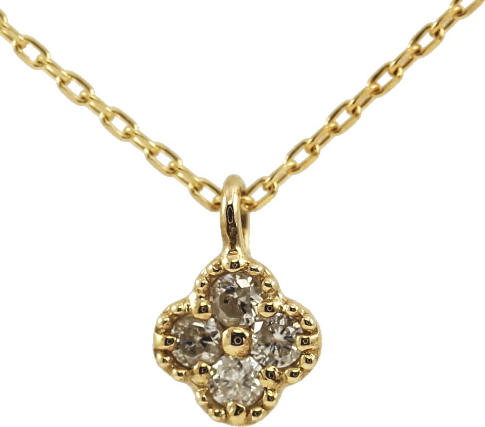 K10 10金 YG イエローゴールド ダイヤモンド フラワー ネックレス 人気 ギフト ご褒美 PDCTー019 エクセルワールド プレゼントにも おしゃれ アクセサリー