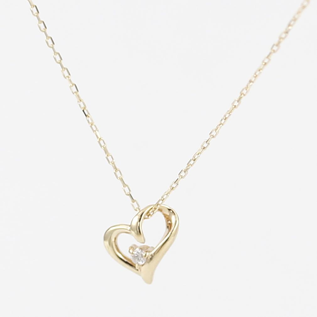 K10 10金 YG イエローゴールド ダイヤモンド ハート ネックレス 人気 ギフト ご褒美 PKJー003 エクセルワールド プレゼントにも おしゃれ アクセサリー