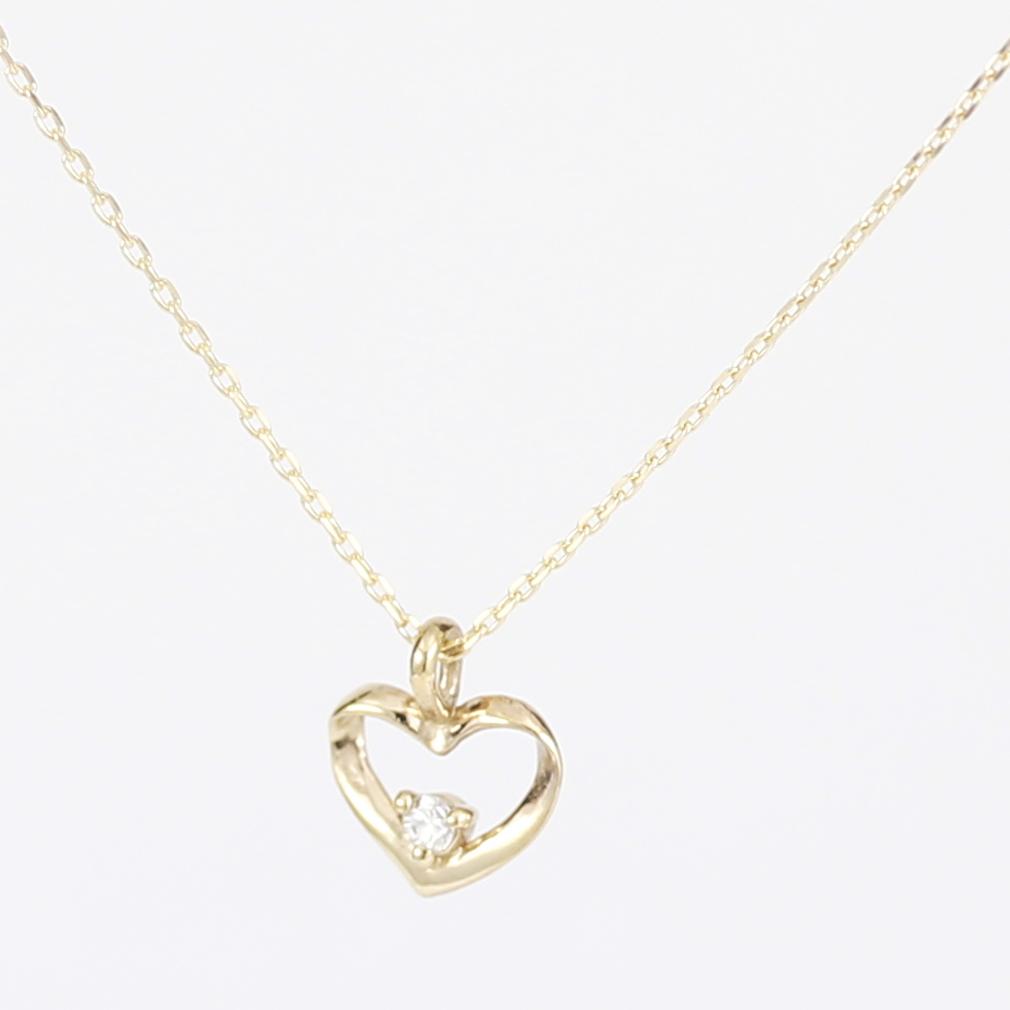 K10 10金 YG イエローゴールド ダイヤモンド ハート ネックレス 人気 ギフト ご褒美 PKJー006 エクセルワールド プレゼントにも おしゃれ アクセサリー