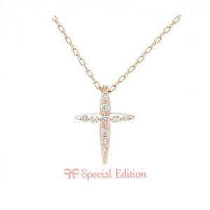 K10 PG ネックレス ダイヤモンド 10石 0.08ct A'la Carte クロス 1301224 エクセルワールド プレゼントにも おしゃれ アクセサリー
