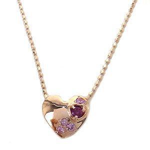 K10 PG ネックレス ルビー ピンクサファイヤ 1267016 エクセルワールド プレゼントにも おしゃれ アクセサリー