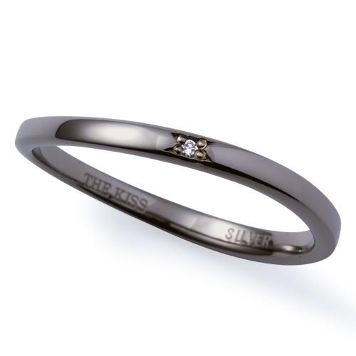 THE KISS ザ キッス シルバー ペア リング メンズ ダイヤモンド ブラックロジウムコーティング SR6044DM【送料無料】 ペアリングならザキッス エクセルワールド ブランド プレゼントにも おしゃれ アクセサリー TP1