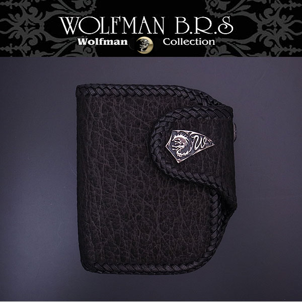 WOLFMAN B.R.S ウルフマン 財布 ショートウォレット ウルフクロー 二つ折り財布 バッファロー かがり WO-W-208BK【送料無料でお届け】 エクセルワールド ブランド プレゼントにも TP