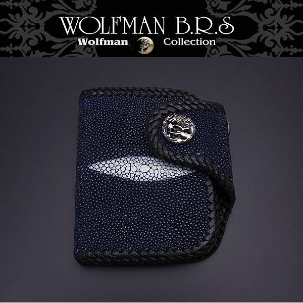 WOLFMAN B.R.S ウルフマン 財布 ショートウォレット ウルフクロー 二つ折り財布 スティングレイ かがり NW-W-209BL【送料無料でお届け】 エクセルワールド ブランド プレゼントにも TP