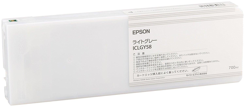 【メーカー純正】新品 EPSON エプソン インクカートリッジ ライトグレー 700ml ICLGY58 (PX-H10000/H8000用) 0113_flash