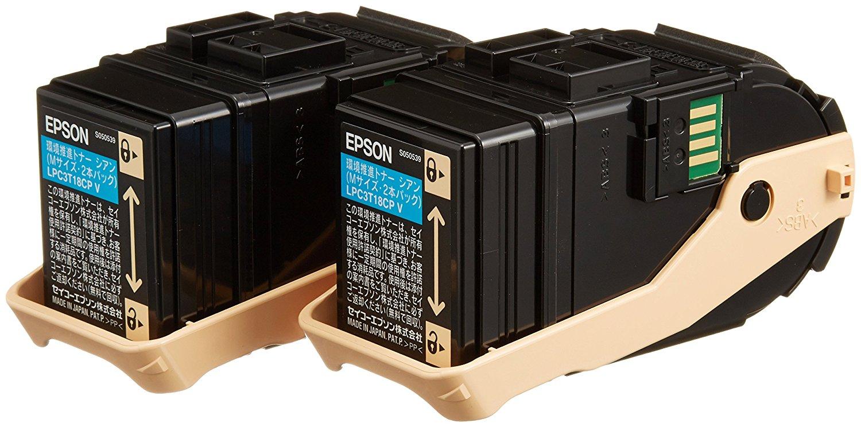 【メーカー純正】 新品 EPSON エプソン 環境推進トナー スマートスタイルカートリッジ シアン Mサイズ LPC3T18CPV 6500ページ×2本パック Offirio LP-S7100 シリーズ用 0113_flash