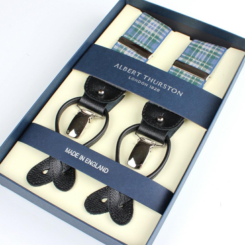サスペンダー!アルバートサーストン サスペンダー ブルー/グリーン タータンチェック メンズ ブランド