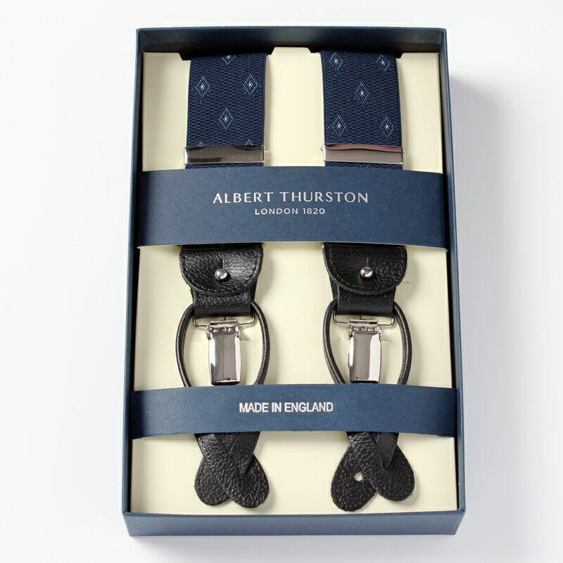 アルバートサーストンALBERT THURSTON サスペンダー ネイビー ダイヤ小紋 メンズ ブランド