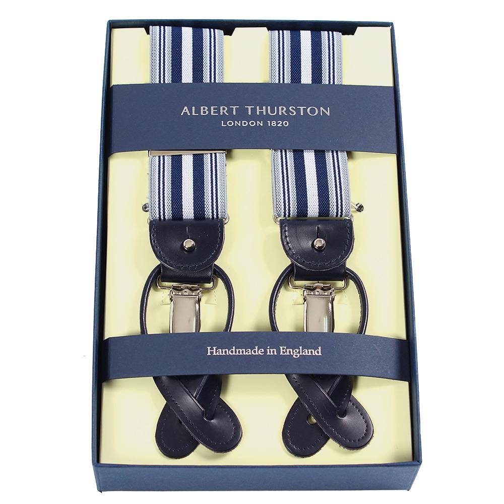 ギフトにも最適 ブルーのストライプが爽やかな1本 アルバートサーストン サスペンダー ストライプ ブルー 優先配送 エラスティック ゴム 物品 Elastic メンズ BRACES THURSTON Blue ブランド Stripe ALBERT