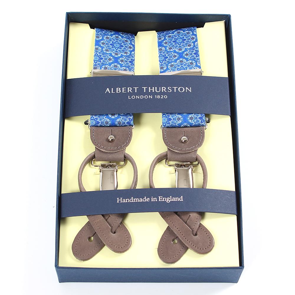 アルバートサーストン サスペンダー 小紋柄 ブルー エラスティック(ゴム)/ALBERT THURSTON BRACES Komon Blue Elastic/ カレイドスコープ・バティックプリント メンズ ブランド