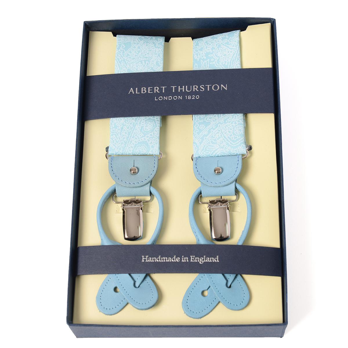 アルバートサーストン サスペンダー ペイズリー ライトブルー シャツ生地タイプ /ALBERT THURSTON Paisley Pattern Braces メンズ ブランド