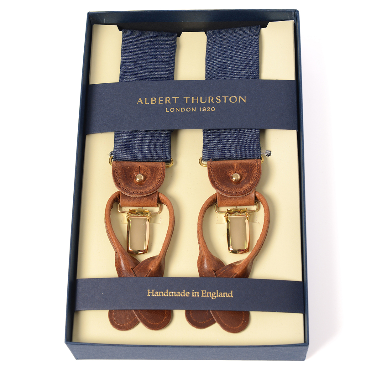 アルバートサーストン サスペンダー ネイビー デニム生地タイプ /ALBERT THURSTON Denim Braces メンズ ブランド