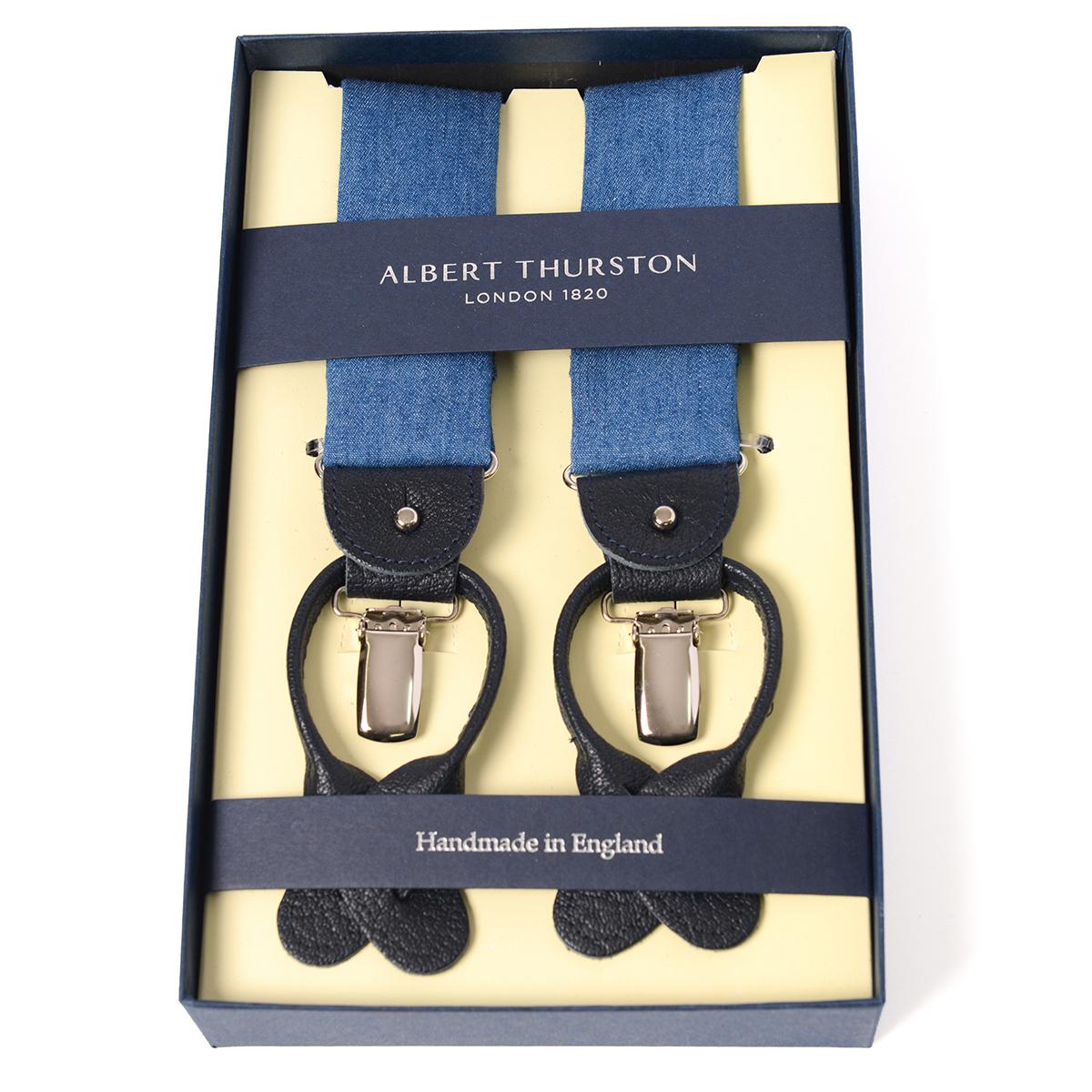 アルバートサーストン サスペンダー ブルー デニム生地タイプ /ALBERT THURSTON Denim Braces メンズ ブランド