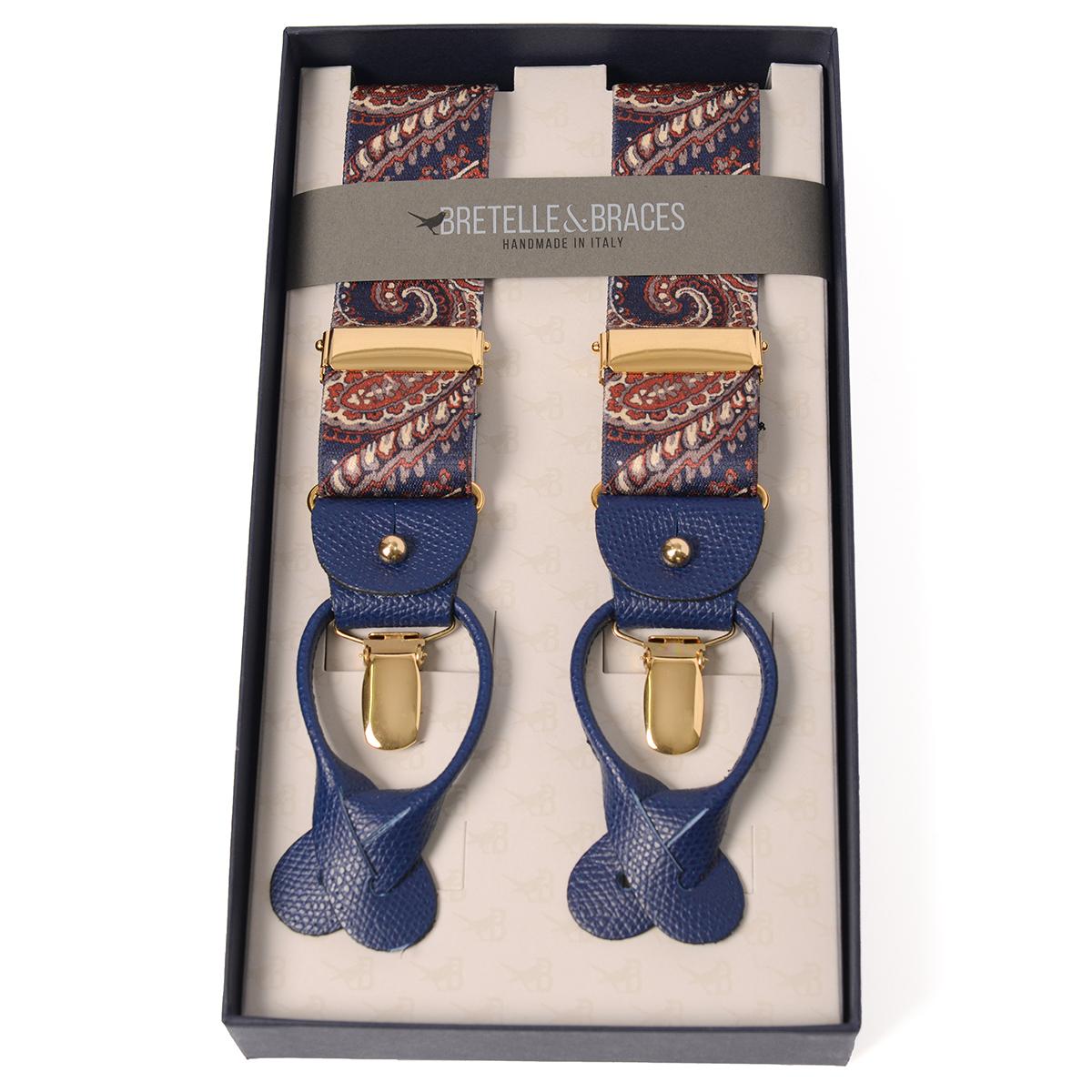BRETELLE&BRACES イタリア ハンドメイド サスペンダー エラスティックタイプ ペイズリー柄 ネイビー×オレンジ 36mm メンズサスペンダー ブレイシーズ メンズ ブランド