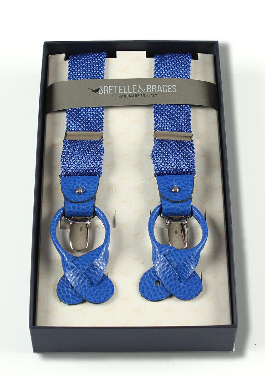 BRETELLE&BRACES ハンドメイドサスペンダー&蝶ネクタイセット シルクニット ブルー メンズ ブランド
