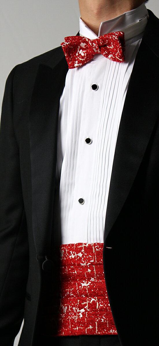 西陣織オーダーカマーバンド&蝶ネクタイ ニューヨークレッド