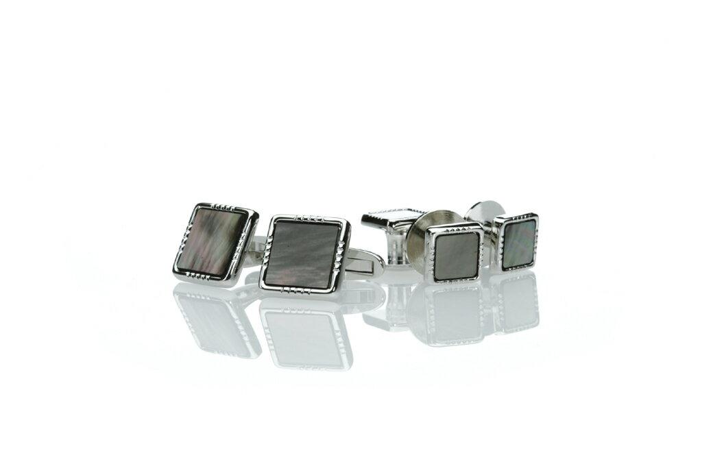 日本製カフススタッド 純銀製シルバー925 黒蝶貝のカフスとスタッドのセット