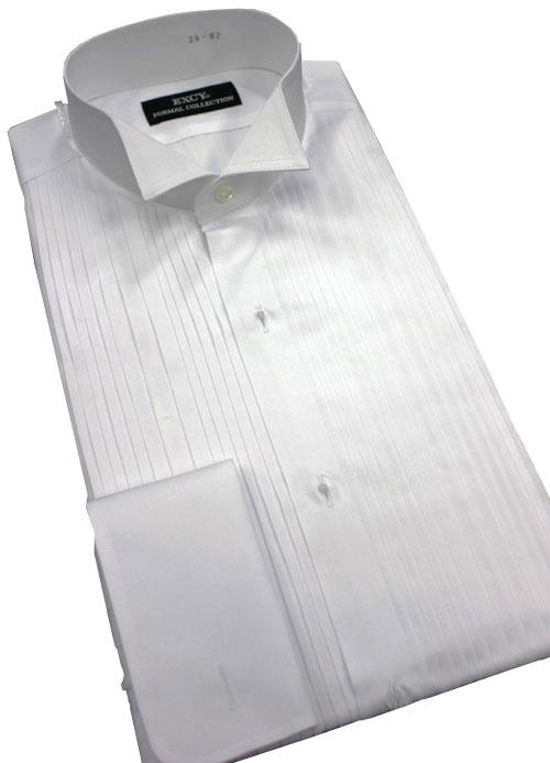 日本製 最高級 タキシード用ウイングカラーシャツ 親子ヒダ仕様