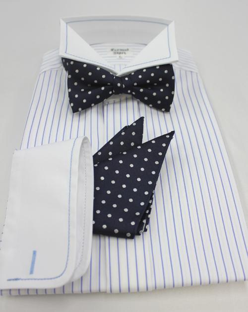 ウイングストライプシャツ、蝶ネクタイ、チーフ3点セット