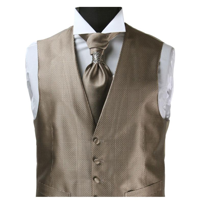 フォーマルベストセット/【VS-992MB】ポケットチーフにタイリング付きのユーロタイがセットになったフォーマルベスト/ブラウンゴールドベスト/結婚式ベスト メンズ 日本製