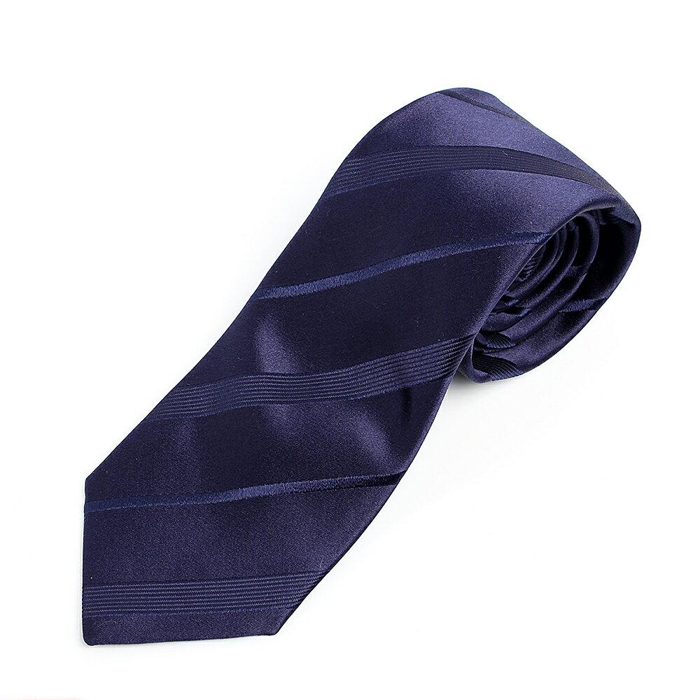 VANNERSシルク ネクタイ サテンストライプ ネイビー 日本製