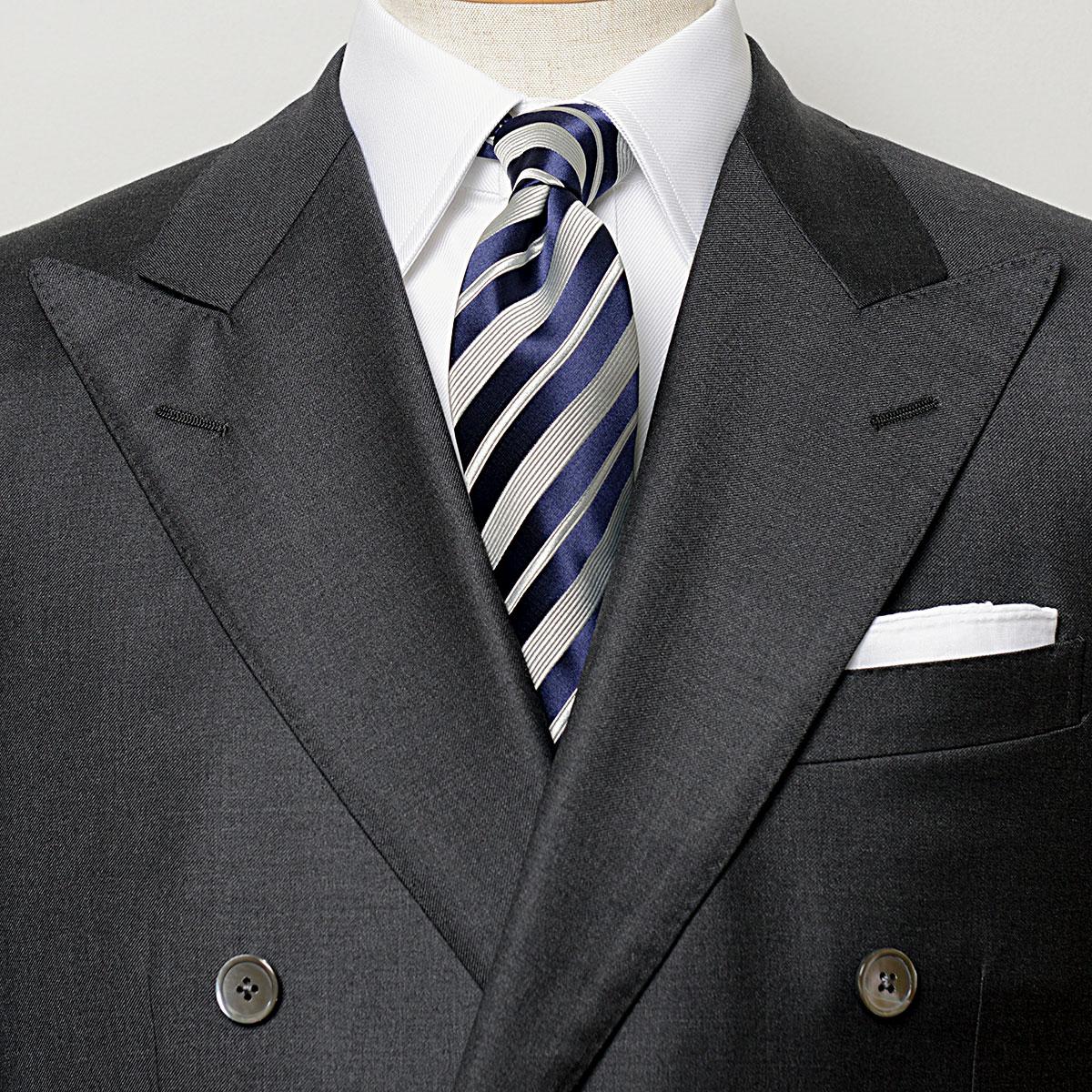英国VANNERS製 高品質シルク ハンドメイド縫製の上質な高級ネクタイ VANNERS 贈答品 シルク 期間限定特別価格 レジメンタル 日本製 ハンドメイド ネイビーグレー ネクタイ FORMAL EXCY