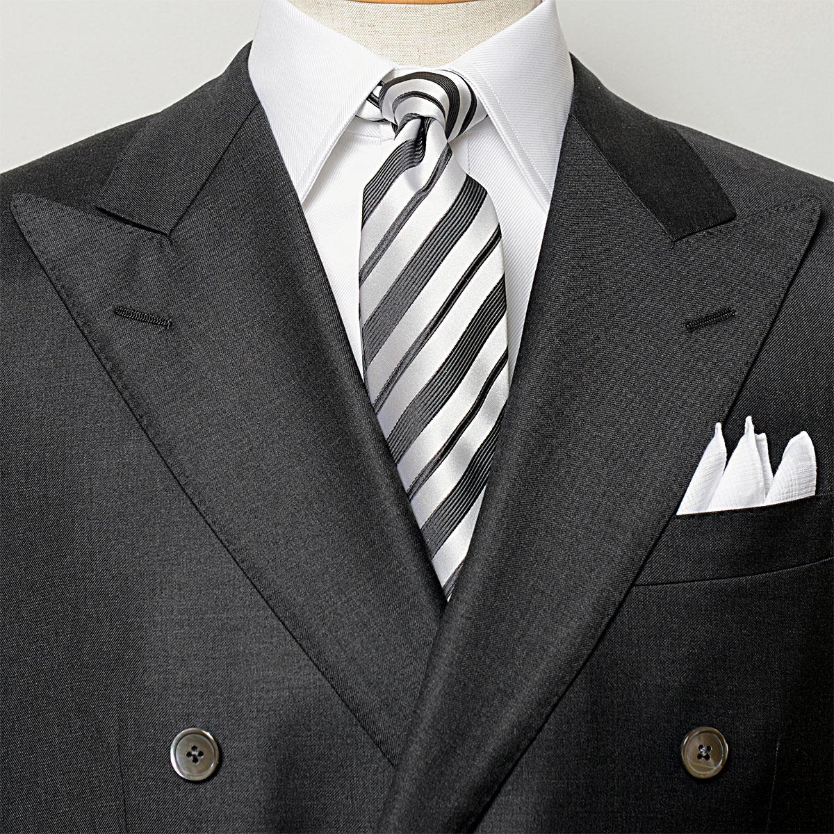英国VANNERS製 出群 高品質シルク ハンドメイド縫製の上質な高級ネクタイ VANNERSシルク FORMAL モノトーンストライプネクタイ 公式ストア EXCY 日本製ハンドメイド