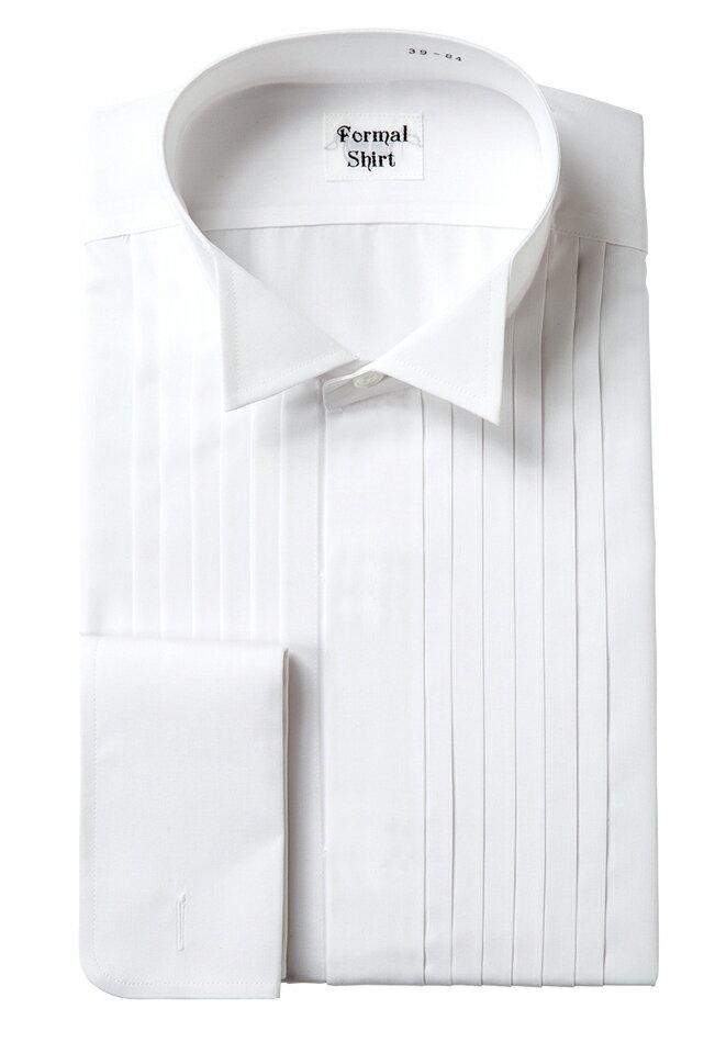 タキシードシャツ/送料無料日本製のフォーマルシャツです/ウイングカラー/ヒダ胸シャツ