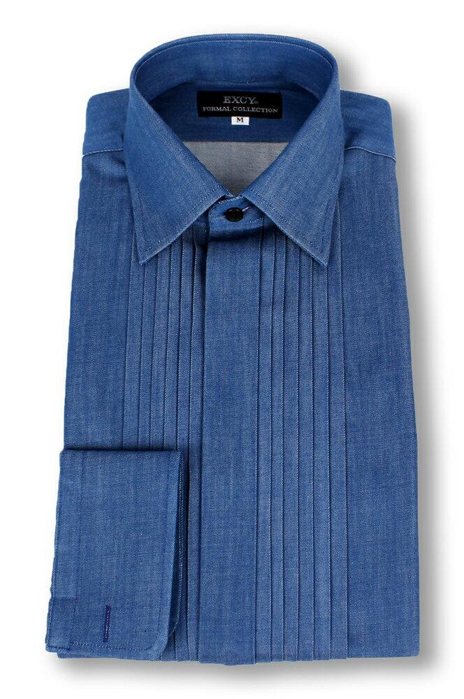 デニムワイドカラープリーツシャツ ブルー