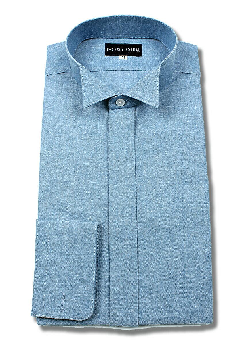 ダンガリーウイングカラーシャツ ネイビー/ブルー