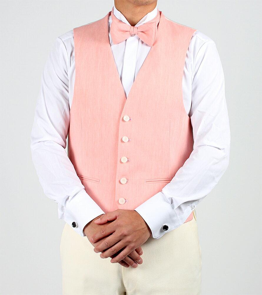 リネン蝶ネクタイ・チーフ・ベスト3点セット ピンク メンズ 日本製