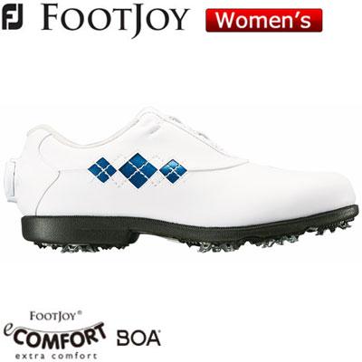 2018モデル 半額 日本正規品 FOOTJOY フットジョイ お買い得品 eComfort Boa 2018 ブルー レディース ゴルフシューズ XW ホワイト 98624