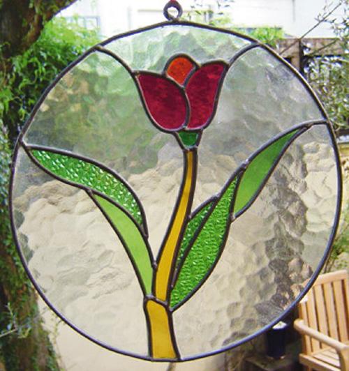ステンドグラス チューリップ丸(87054)(ジャービス商事)ウォールデコレーション インテリア インテリアガラス ディスプレイ レトロ フラワー 花