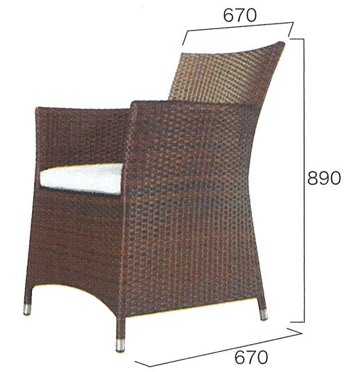 人工ラタンファニチャー チェア NH-2098A(38710)(ジャービス商事)ガーデンファニチャー ガーデン家具 ガーデンチェア 椅子 イス