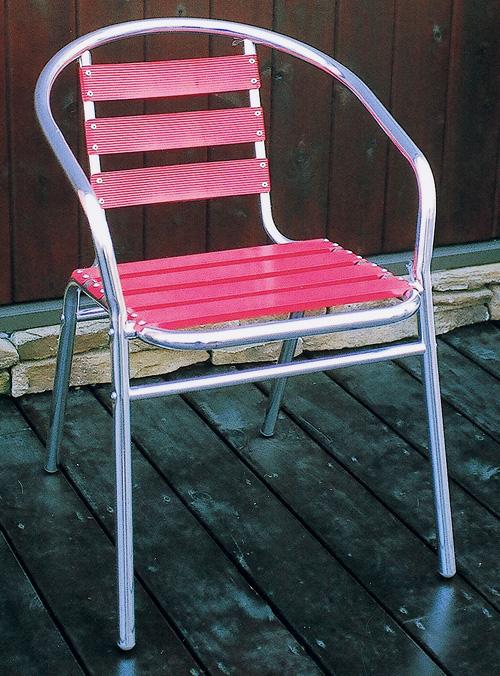 アルミチェア赤 YC001-RED 2脚セット(32602)(ジャービス商事)ガーデンファニチャー ガーデン家具 ガーデンチェア 椅子 イス