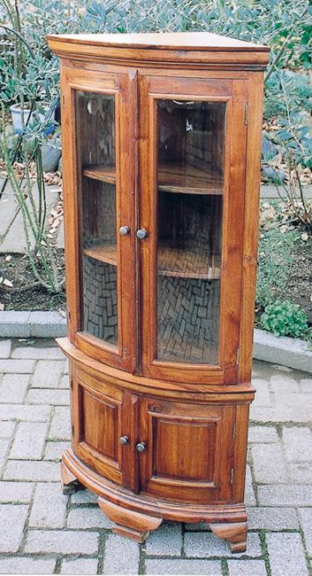 コーナーガラス棚 1114-02(35234)(ジャービス商事)ファニチャー 家具 インテリア ディスプレイ 収納棚 シェルフ 木製 チーク