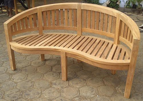 バナナベンチ(36701)(ジャービス商事)ガーデンファニチャー ガーデン家具 ガーデンベンチ ガーデンチェア 椅子 イス チーク 木製