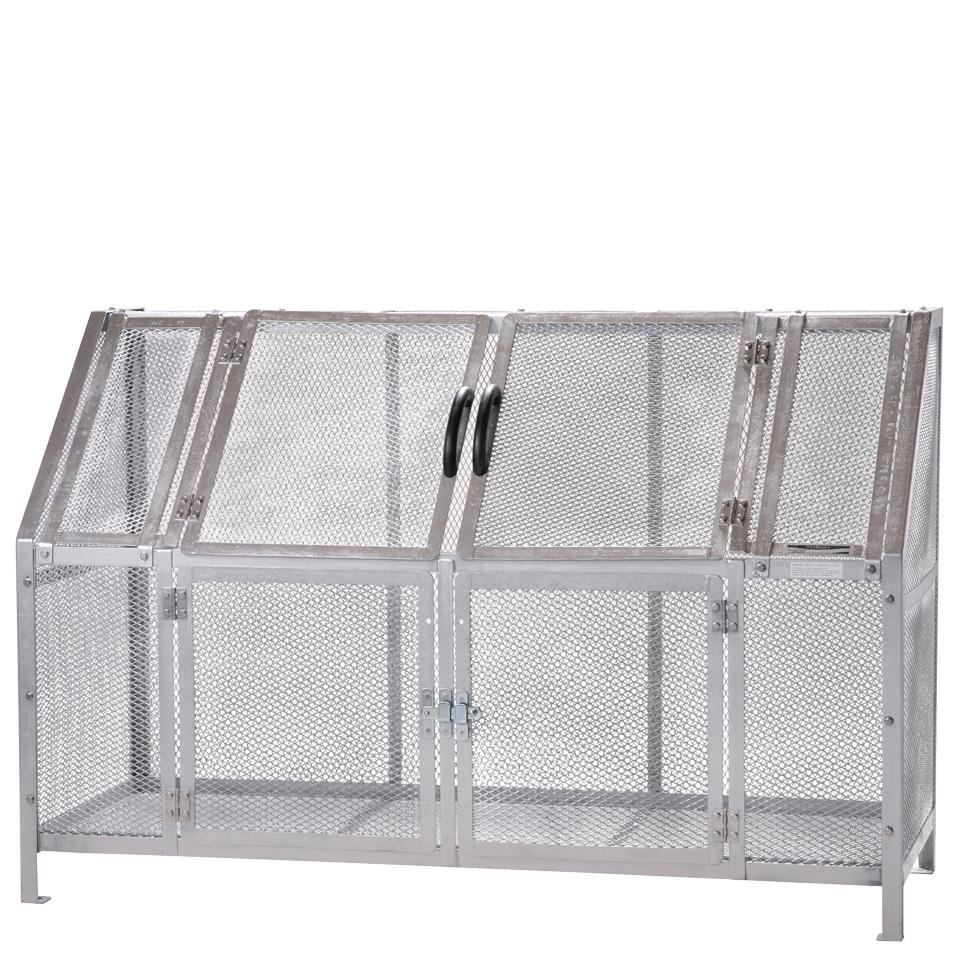 ジャンボメッシュST1100(ミヅシマ工業) 内容量約1200L 約1800 × 700 × 1200mm 分別屑入 ゴミ箱 屑カゴ 施設用品 スチール製 ゴミ保管庫 お客様組立製品