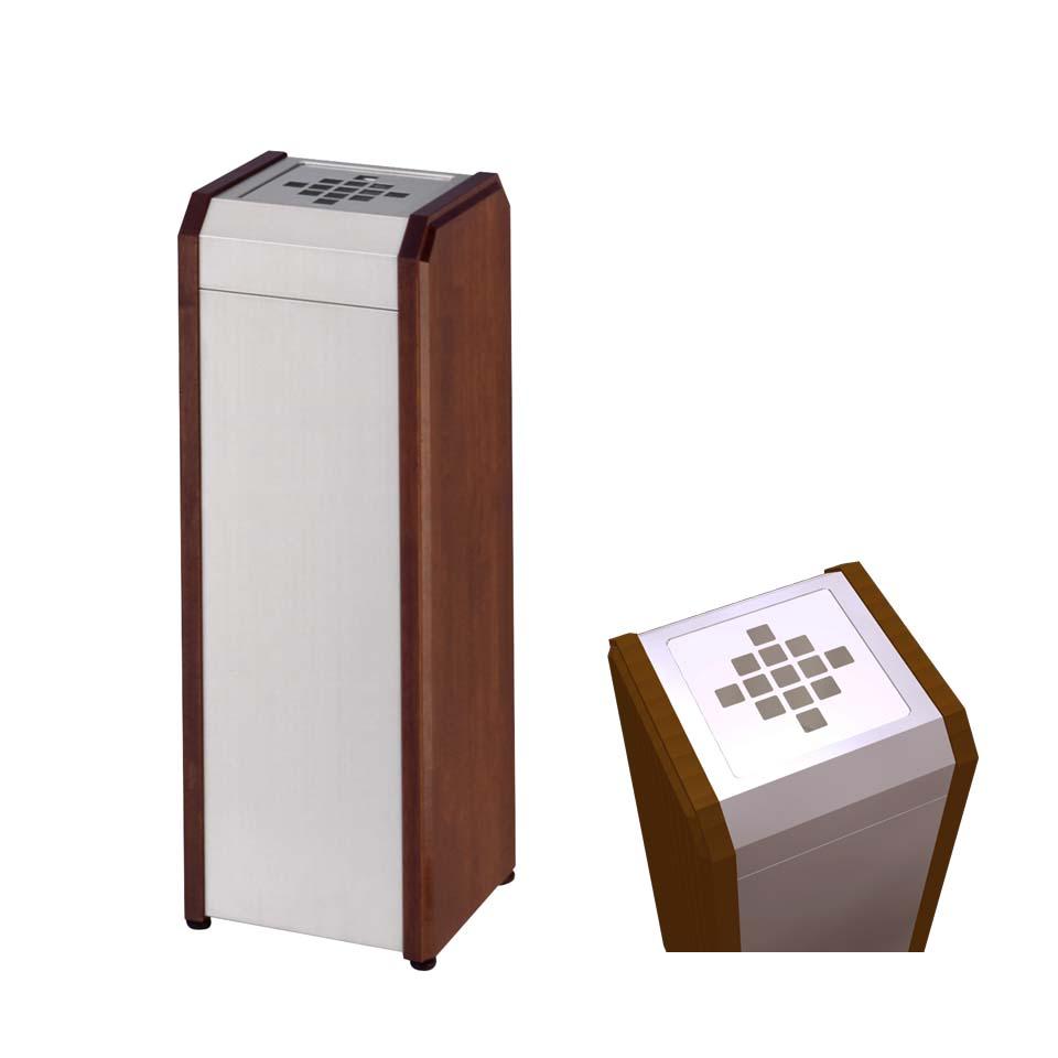 クリンスモーキング WS WS1 ステンレス+木製 ステンレス製(ミヅシマ工業) 灰皿 施設用品 屋内用 内容量1.8リットル 本州・四国・九州送料無料