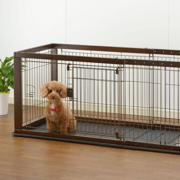 木製スライドペットサークル ワイド 小型犬用~中型犬用
