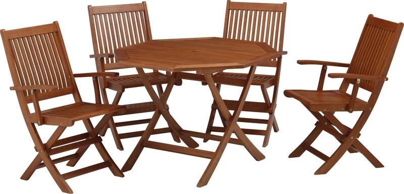 ガーデンオクタゴナルテーブル 5点セット アーム付 MWF-01(56886400)(タカショー)送料無料 ガーデンファニチャーセット ガーデン家具 ガーデンテーブル ガーデンチェアー 木製