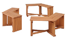 タカショー ホームユース商品 ガーデン家具 ガーデンベンチ ウッディーガーデン六角ベンチ 3入 WEF-150BN(57118500)(タカショー)送料無料 ガーデンファニチャー ガーデン家具 ガーデンベンチ 木製