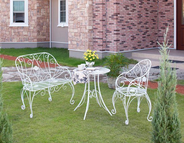 ロアンヌ ラブチェアー IGF-B02(35044500)(タカショー)送料無料 ガーデンファニチャー ガーデン家具 ガーデンチェアー イス 椅子 ホワイト スチール